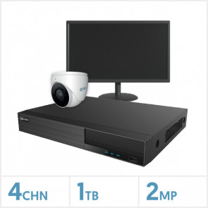 "Viper NVR Entry Level Kit - 4 Channel 1TB Recorder, 1 x Fixed Lens Turret Camera and 19"" HD Monitor"