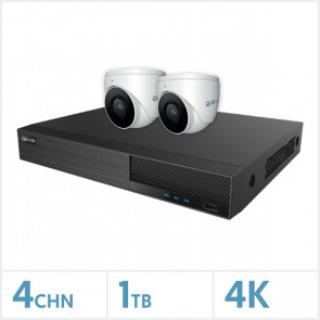 Viper NVR Kit - 4 Channel 1TB Recorder with 2 x 4K Fixed Turret Cameras (White)