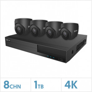 Viper NVR Kit - 8 Channel 1TB Recorder with 4 x 4K Fixed Turret Cameras (Grey)