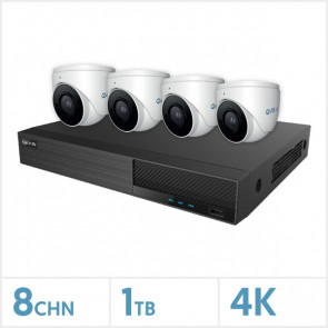 Viper NVR Kit - 8 Channel 1TB Recorder with 4 x 4K Fixed Turret Cameras (White)