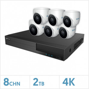 Viper NVR Kit - 8 Channel 2TB Recorder with 6 x 4K Fixed Turret Cameras (White)