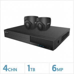 Viper NVR Kit - 4 Channel 1TB Recorder with 2 x 6MP Fixed Turret Cameras (Grey)